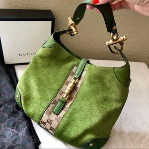 GUCCI Jackie Green Suede & Brown GG Monogram Bag